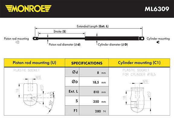 Verin de capot MONROE ML6309 (X1)
