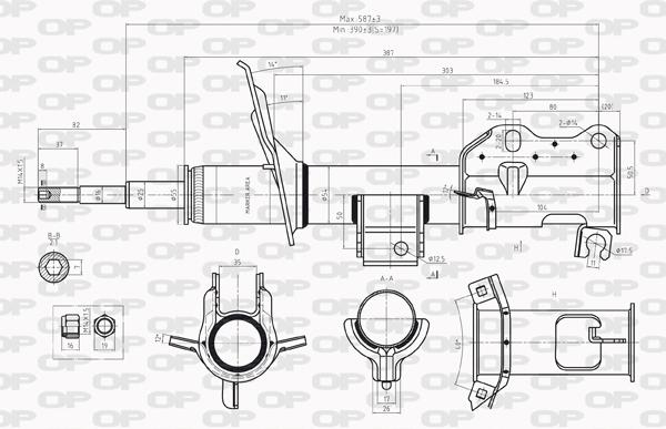 Amortisseur avant Solid parts SAB8231.31 (X1)