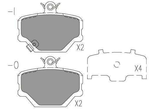 Plaquettes de frein avant KLAXCAR FRANCE 24052z (Jeu de 4)