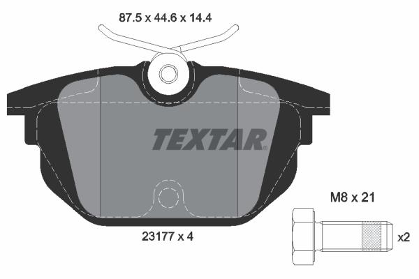 Plaquettes de frein arriere TEXTAR 2317703 (X1)