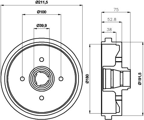 Tambour de frein arriere TEXTAR 94006600 (X1)