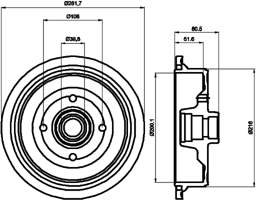 Tambour de frein arriere TEXTAR 94012800 (X1)
