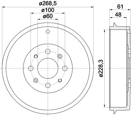 BORG BBR7122 Tambour de frein arrière