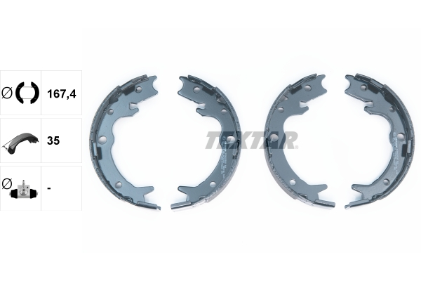 Jeu de mâchoires de frein de frein à main TEXTAR 91062800 (X1)