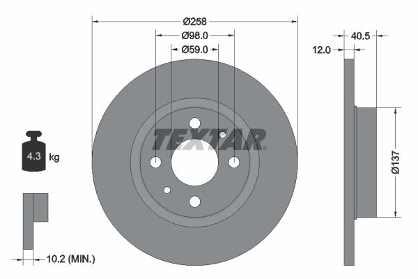 Disque de frein TEXTAR 92041503 (Jeu de 2)