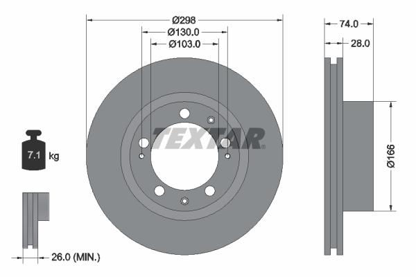 Disque de frein avant TEXTAR 92052300 (Jeu de 2)