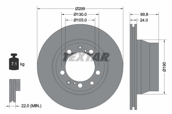 Disque de frein arriere TEXTAR 92052400 (Jeu de 2)