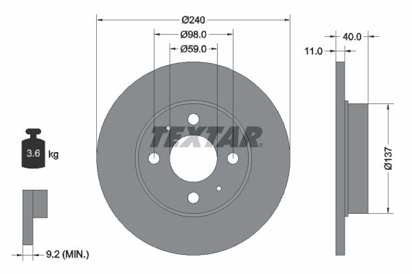 Disque de frein TEXTAR 92061103 (Jeu de 2)