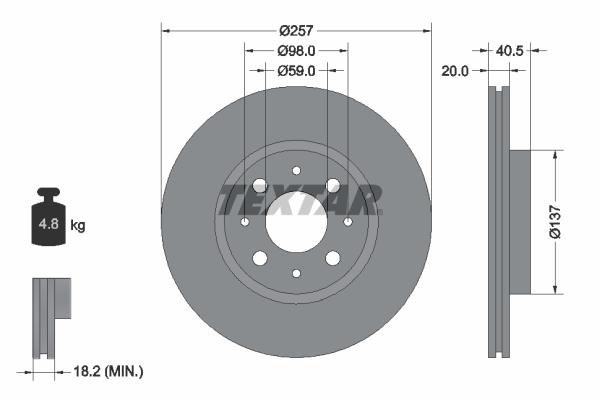 Disque de frein avant TEXTAR 92068503 (Jeu de 2)
