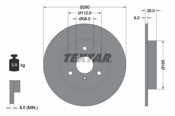 Disque de frein avant TEXTAR 92097603 (Jeu de 2)