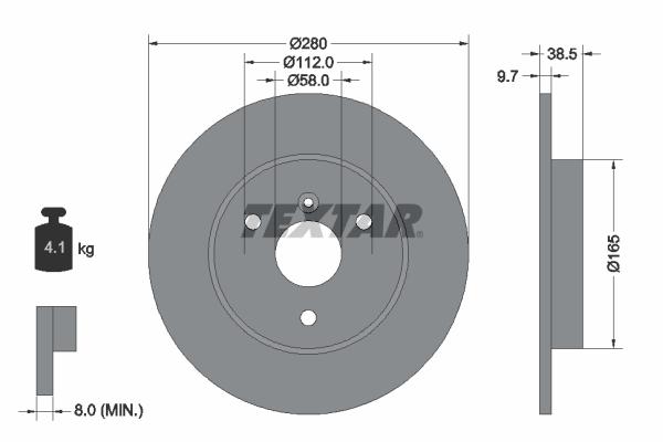 Disque de frein avant TEXTAR 92155503 (Jeu de 2)