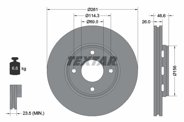 Disque de frein avant TEXTAR 92204400 (Jeu de 2)