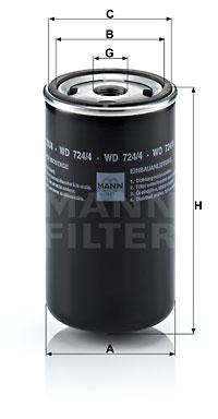 Filtre a huile de boite de vitesse MANN-FILTER WD 724/4 (X1)