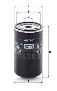 Filtre a huile de boite de vitesse MANN-FILTER WD 724/6 (X1)