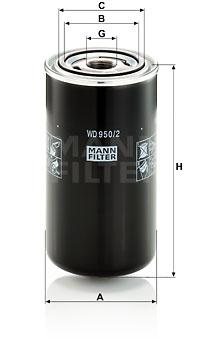 Filtre a huile de boite de vitesse MANN-FILTER WD 950/2 (X1)
