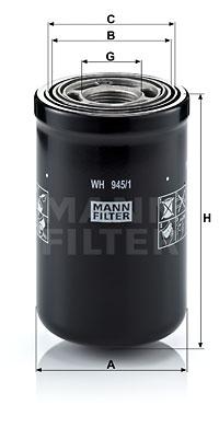 Filtre a huile de boite de vitesse MANN-FILTER WH 945/1 (X1)
