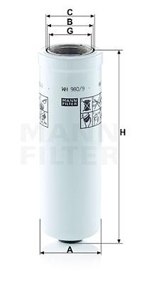 Filtre a huile de boite de vitesse MANN-FILTER WH 980/9 (X1)