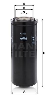 Filtre a huile de boite de vitesse MANN-FILTER WH 980 (X1)