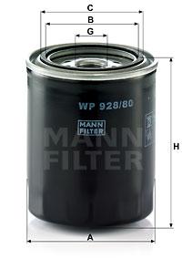 Filtre a huile MANN-FILTER WP 928/80 (X1)