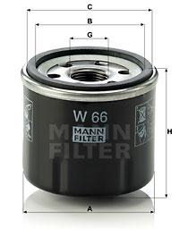 Filtre a huile MANN-FILTER W 66 (X1)