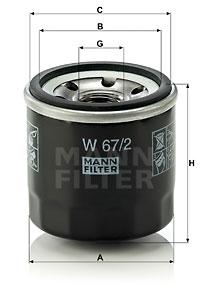 Filtre a huile MANN-FILTER W 67/2 (X1)