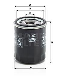 Filtre a huile MANN-FILTER W 67 (X1)