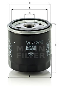 Filtre a huile MANN-FILTER W 712/75 (X1)