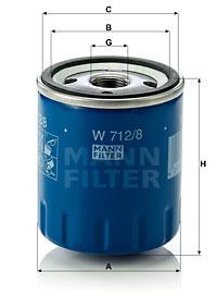 Filtre a huile MANN-FILTER W 712/8 (X1)