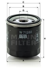 Filtre a huile MANN-FILTER W 712/83 (X1)