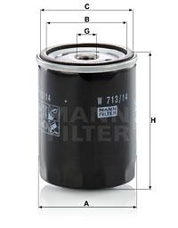 Filtre a huile MANN-FILTER W 713/14 (X1)
