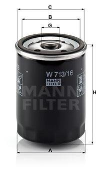Filtre a huile MANN-FILTER W 713/16 (X1)