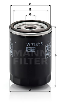 Filtre a huile MANN-FILTER W 713/18 (X1)