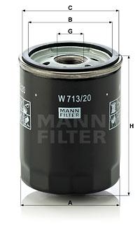 Filtre a huile MANN-FILTER W 713/20 (X1)