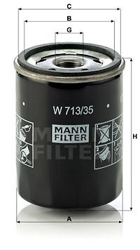 Filtre a huile MANN-FILTER W 713/35 (X1)