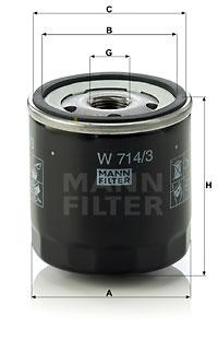 Filtre a huile MANN-FILTER W 714/3 (X1)