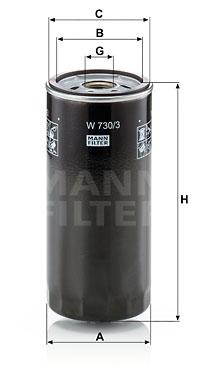 Filtre a huile MANN-FILTER W 730/3 (X1)