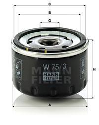 Filtre a huile MANN-FILTER W 75/3 (X1)