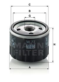 Filtre a huile MANN-FILTER W 77 (X1)
