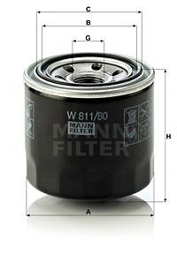 Filtre a huile MANN-FILTER W 811/80 (X1)