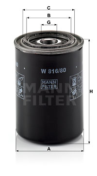 Filtre a huile MANN-FILTER W 816/80 (X1)