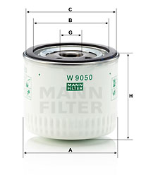 Filtre a huile MANN-FILTER W 9050 (X1)
