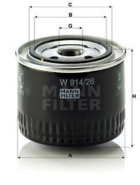 Filtre a huile MANN-FILTER W 914/26 (X1)