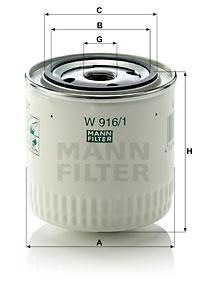 Filtre a huile MANN-FILTER W 916/1 (X1)
