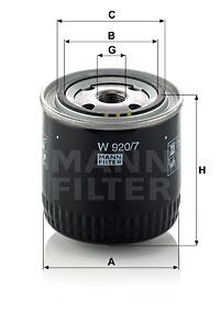 Filtration MANN-FILTER W 920/7 (X1)