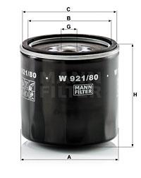 Filtre a huile MANN-FILTER W 921/80 (X1)