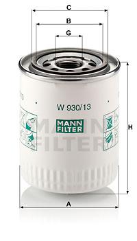 Filtre a huile MANN-FILTER W 930/13 (X1)