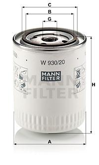 Filtre a huile MANN-FILTER W 930/20 (X1)