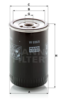 Filtre a huile MANN-FILTER W 936/5 (X1)