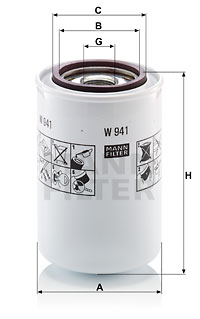 Filtre a huile de boite de vitesse MANN-FILTER W 941 (X1)