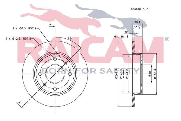 Disque de frein arriere RAICAM RD00352 (Jeu de 2)